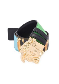 Versace Barocco Print Reversible Leather Belt with Medusa Buckle