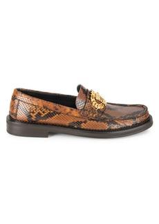 Versace Medusa Crocodile-Embossed Leather Loafers