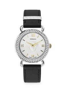 Versace Medusa Stainless Steel & Leather-Strap Watch