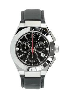 Versace Men's 41mm Landmark Chronograph Watch w/ Leather Strap  Black