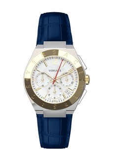 Versace Men's 41mm Landmark Chronograph Watch w/ Leather Strap  White/Blue