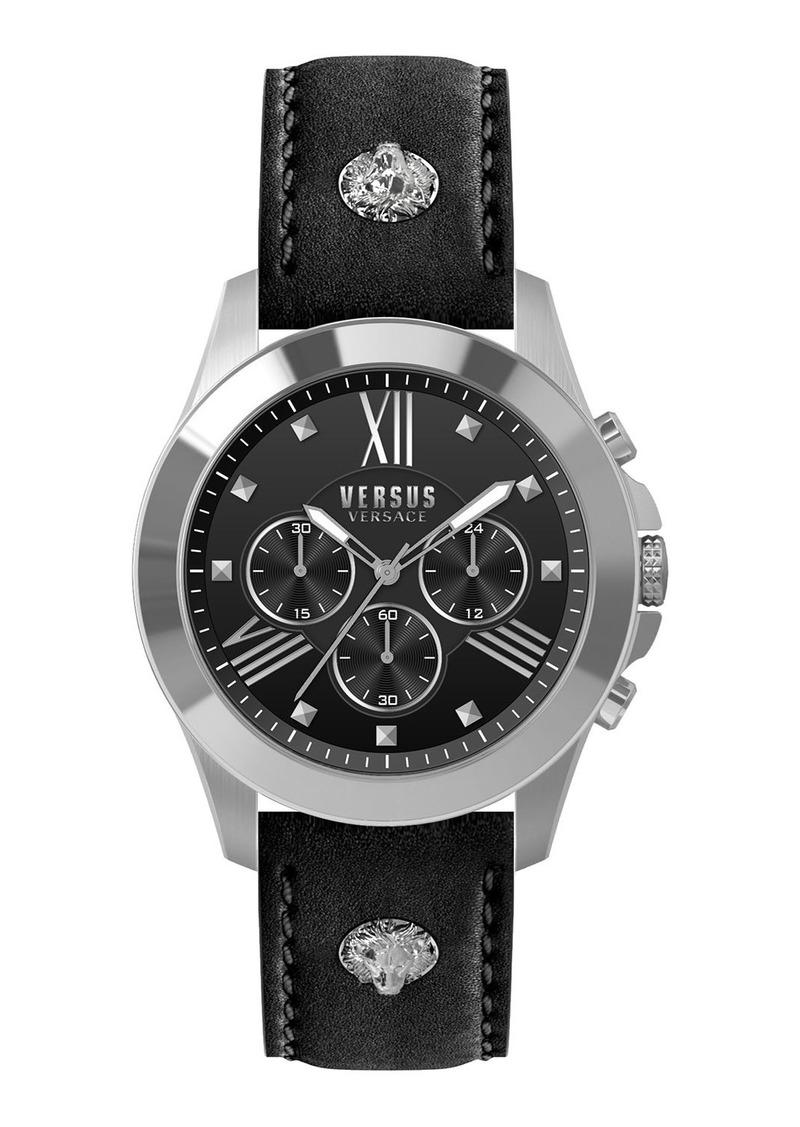 Versace Men's 44mm Chronograph Watch w/ Leather Strap  Black