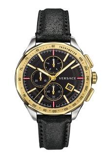 Versace Men's 44mm Glaze Chronograph Watch w/ Leather Strap