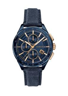 Versace Men's 44mm Glaze Chronograph Watch w/ Leather Strap  Blue