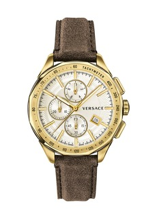 Versace Men's 44mm Glaze Chronograph Watch w/ Leather Strap Brown/Golden