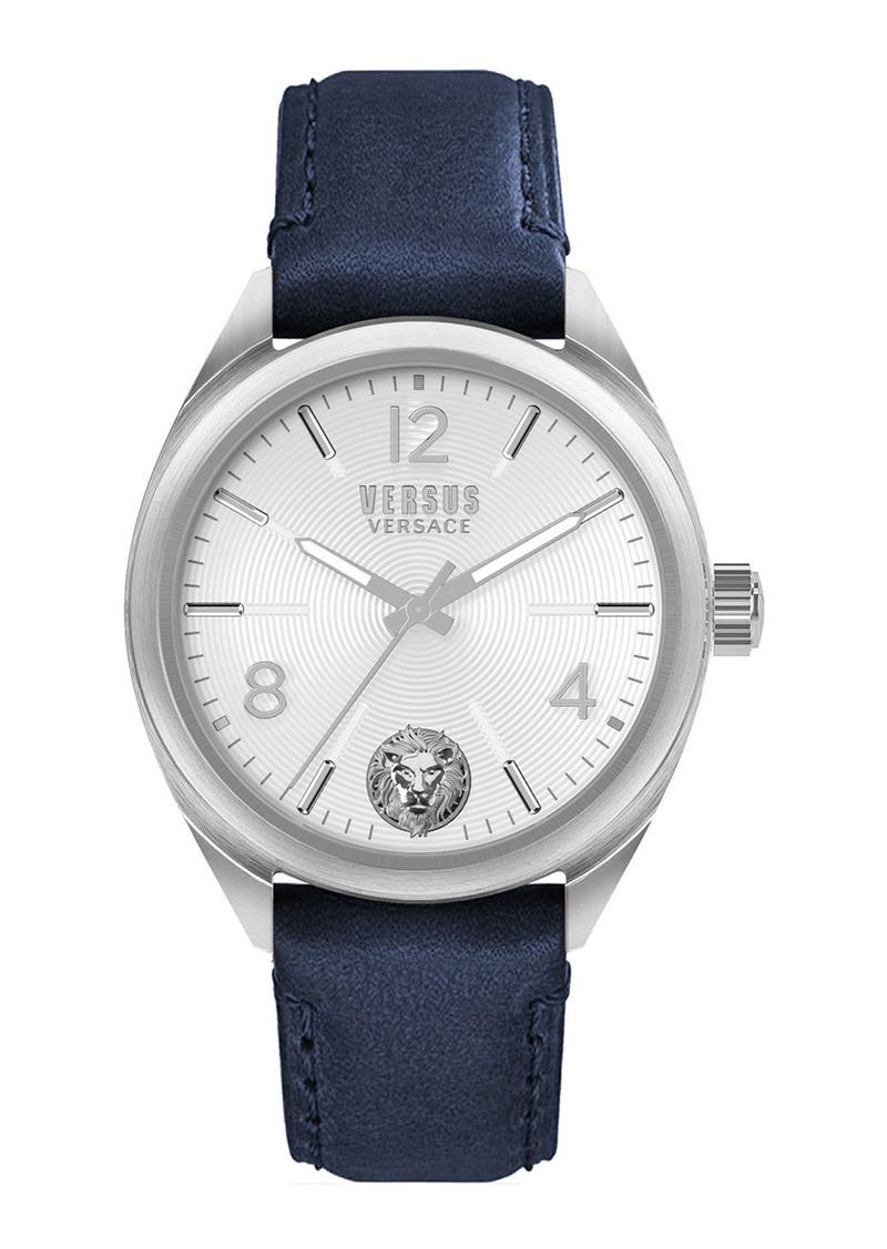 Versace Men's 44mm Guilloche Watch w/ Leather Strap  Blue