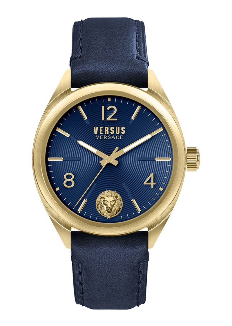 Versace Men's 44mm Guilloche Watch w/ Leather Strap  Blue/Gold