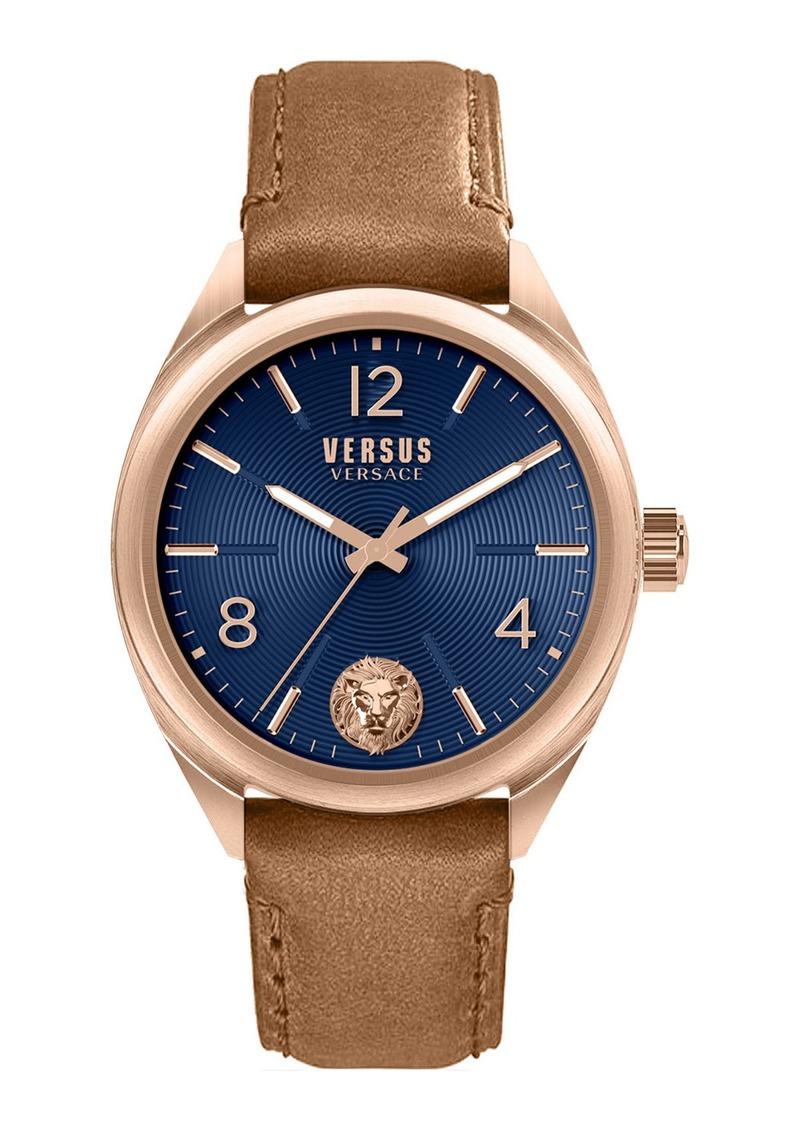 Versace Men's 44mm Guilloche Watch w/ Leather Strap  Blue/Tan