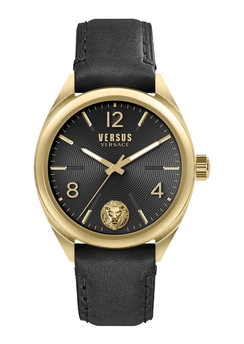 Versace Men's 44mm Guilloche Watch w/ Leather Strap  Gold/Black