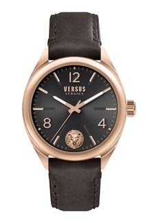 Versace Men's 44mm Guilloche Watch w/ Leather Strap  Rose/Brown