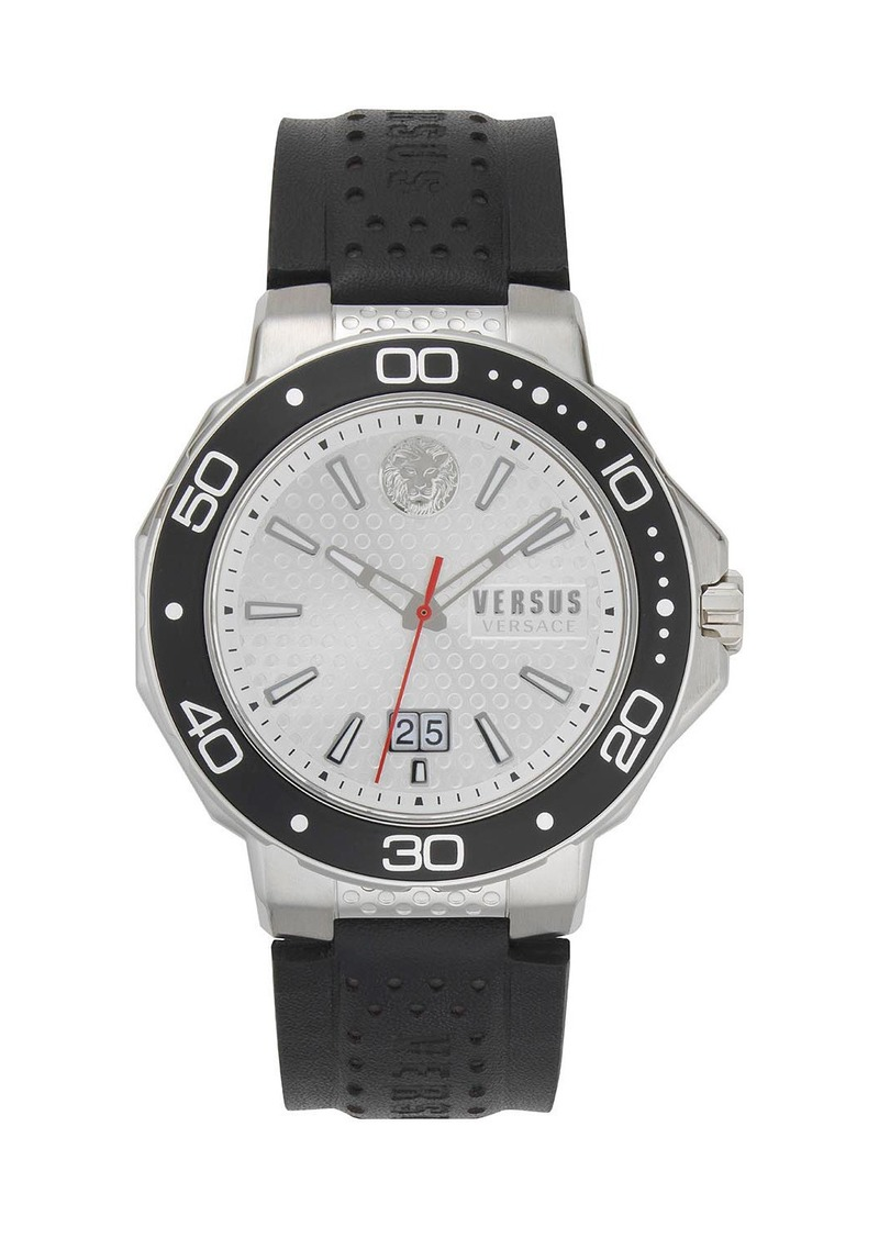 Versus Men's 44mm Watch with  Black Leather Strap
