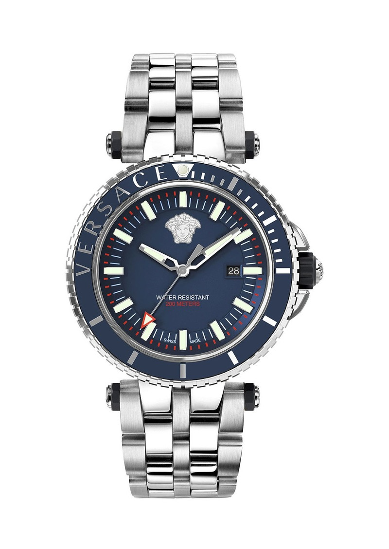 Versace Men's 46mm V-Race Diver Watch w/ Bracelet Strap