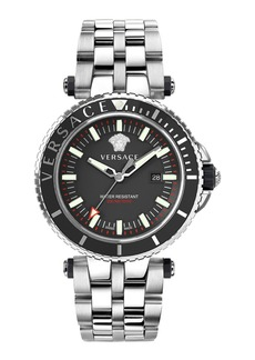 Versace Men's 46mm V-Race Diver Watch w/ Bracelet Strap  Gray Steel
