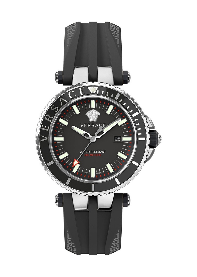 Versace Men's 46mm V-Race Diver Watch w/ Silicone Strap  Black