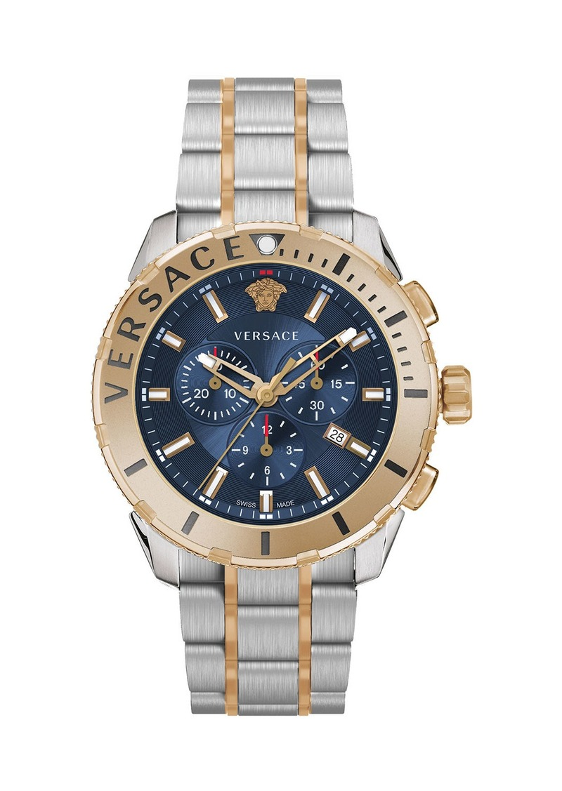 Versace Men's 48mm Casual Chronograph Watch w/ Bracelet Strap  Gold/Steel