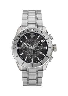 Versace Men's 48mm Casual Chronograph Watch w/ Bracelet Strap  Steel/Black