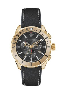 Versace Men's 48mm Casual Chronograph Watch w/ Leather Strap  Black/Brown