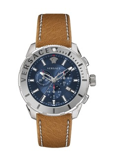 Versace Men's 48mm Casual Chronograph Watch w/ Leather Strap  Steel/Blue