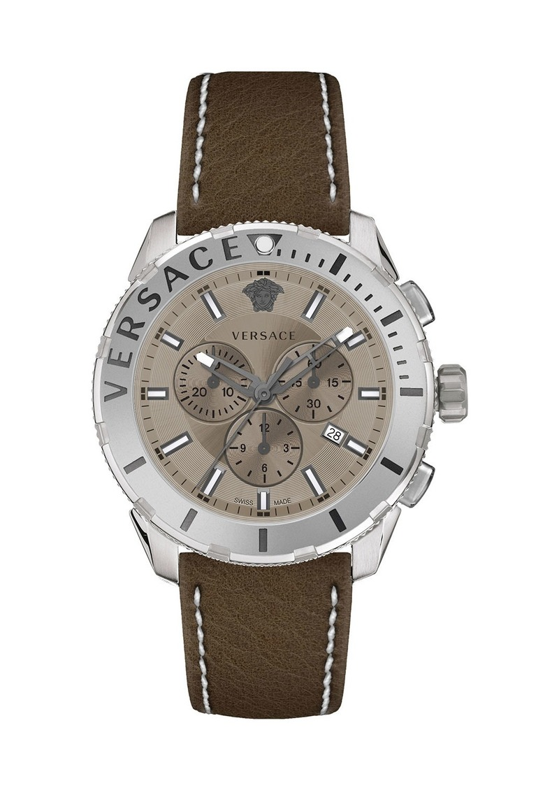 Versace Men's 48mm Casual Chronograph Watch w/ Leather Strap  Steel/Brown