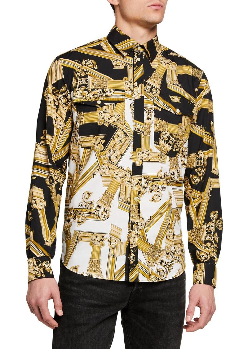 Versace Men's Baroque Point-Collar Sport Shirt