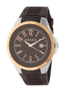 Versace Men's Bicolor Rubber Strap Watch, 45mm