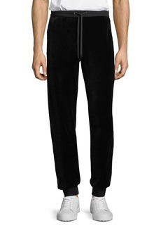 Versace Men's Chenille Logo-Embroidered Pants