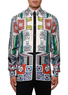 Versace Men's Classical Silk Sport Shirt