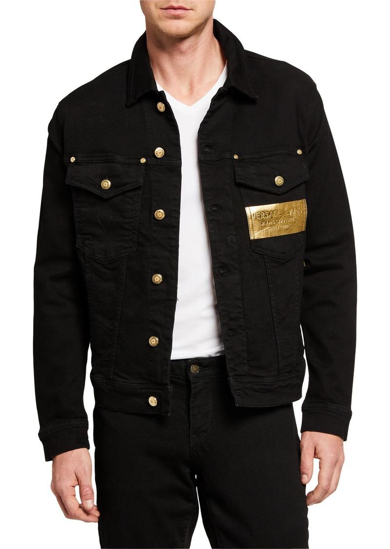 Versace Men's Denim Jacket w/ Metallic Logo Patch