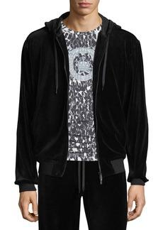 Versace Men's Embossed-Logo Chenille Zip-Front Hoodie