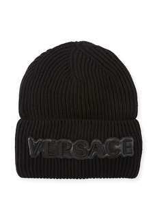 Versace Men's Fold-Over Beanie with Logo Applique