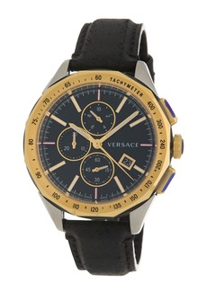 Versace Men's Glaze Chronograph Leather Strap Watch, 44mm