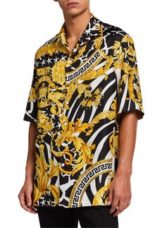 Versace Men's Jungle Baroque Silk Short-Sleeve Sport Shirt