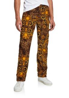 Versace Men's Leo Baroque Velvet Jeans