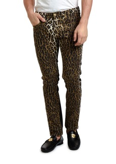 Versace Men's Leopard-Print Slim Jeans