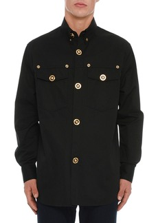 Versace Men's Logo-Button Sport Shirt