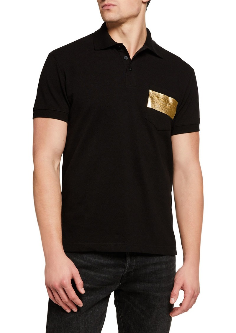 Versace Men's Logo Patch Polo Shirt