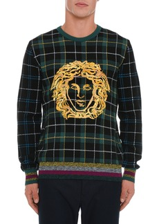 Versace Men's Medusa Head Plaid Sweater