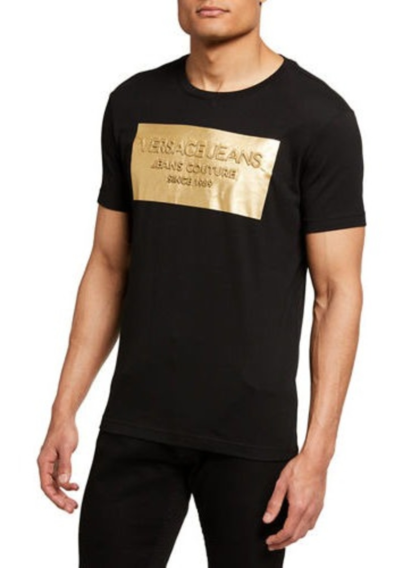 Versace Men's Metallic Logo Crewneck T-Shirt