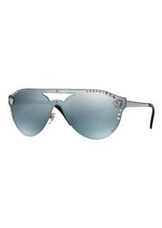 Versace Men's Mirrored Metal-Studded Shield Sunglasses