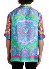 Versace Men's Neon Baroque Silk Short-Sleeve Sport Shirt