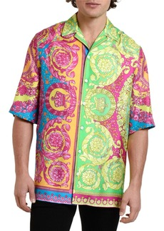 Versace Men's Neon Baroque Silk Short-Sleeve Sport Shirt