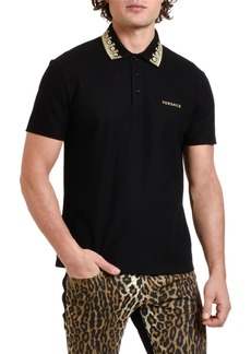 Versace Men's Pique Polo Shirt with Embroidered Collar