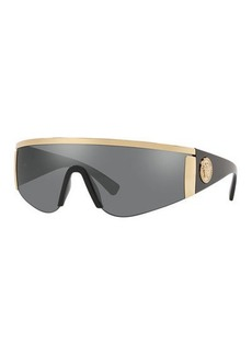 Versace Men's Plastic Mirror Shield Sunglasses with Metallic Trim