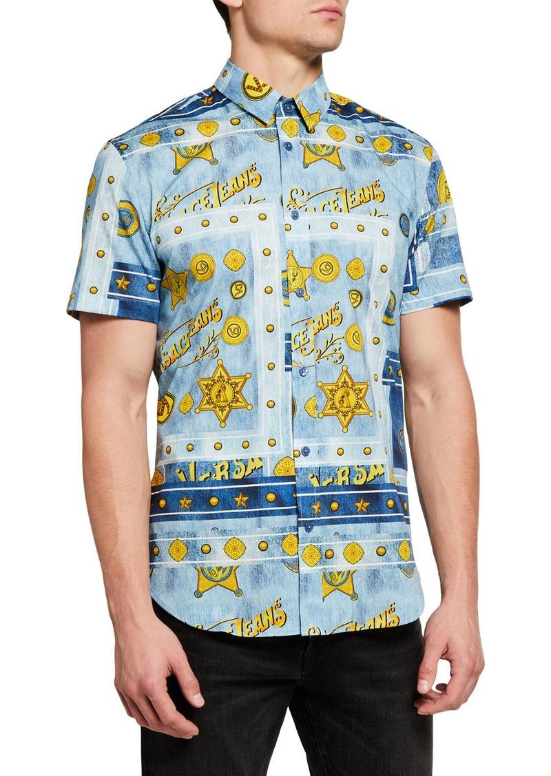 Versace Men's Short-Sleeve Baroque Point-Collar Sport Shirt