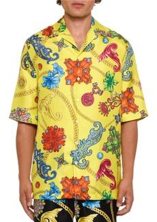 Versace Men's Short-Sleeve Jewels Silk Shirt
