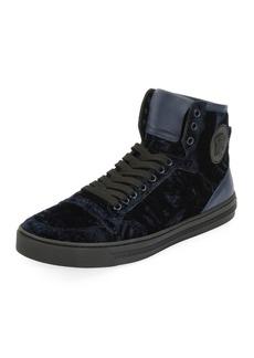 Versace Men's Velvet High-Top Sneakers
