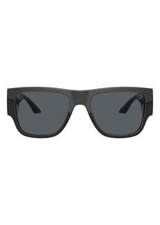 Men's Versace 57mm Rectangular Sunglasses - Black/ Dark Grey