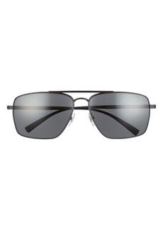 Men's Versace 61mm Aviator Sunglasses - Matte Black/ Dark Grey