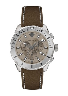 Men's Versace Casual Chrono Leather Strap Watch, 48mm