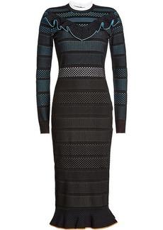 Versace Mesh Dress with Ruffled Trims